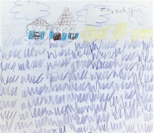 kids drawing of french lavender and a french building.