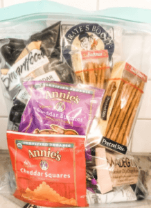 bag of single serving snacks