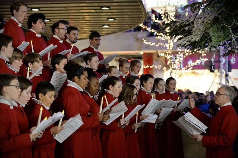 Choir singing carols on Christmas in England.