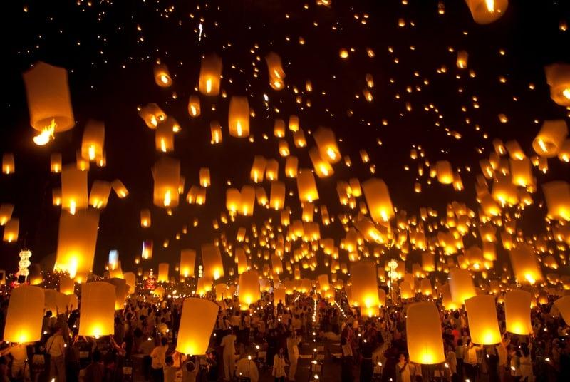 Lanterns at New Years in Thailand