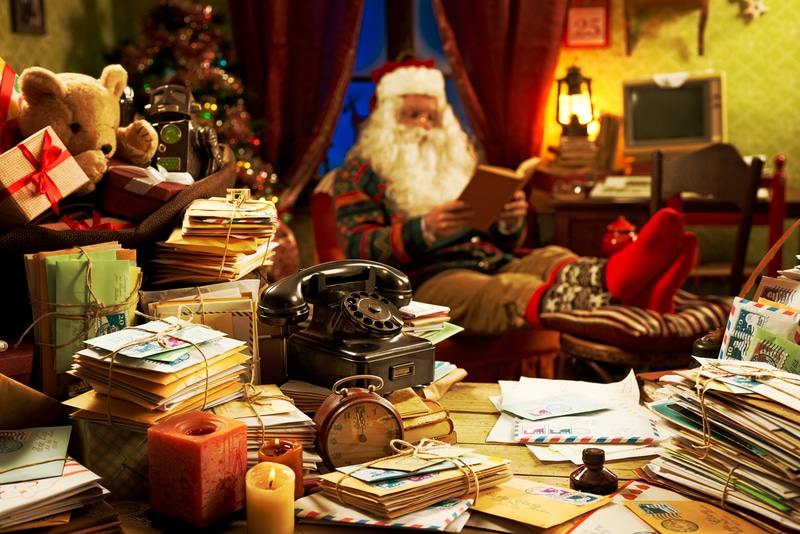 Santa Clause in his office