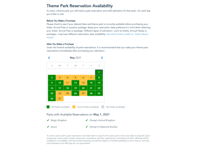 disney 2021 theme park availability screen shot