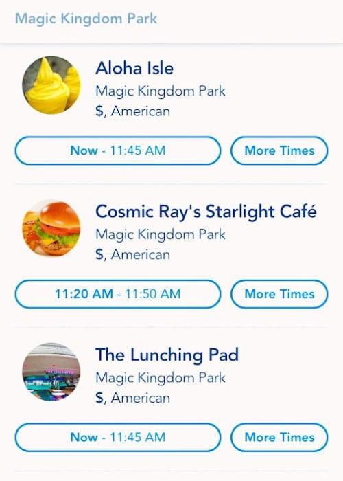 disney 2021 mobile order screen shot