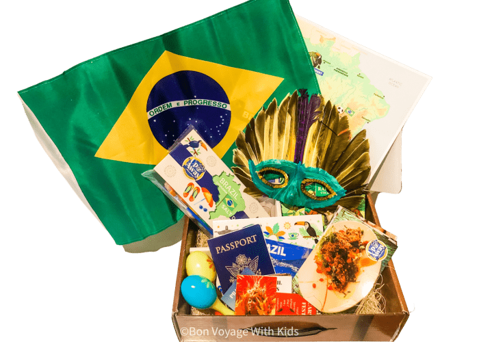 up and away adventures travel box subscription with brazil items