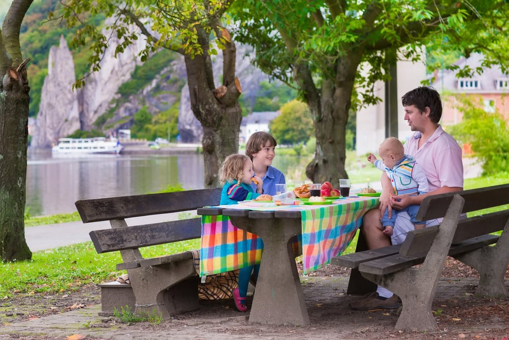 road trip food. Happy young family, father with three children - smiling boy, cute toddler girl and a little baby enjoying a picnic sitting on a wooden bench having fruit and sandwich as healthy lunch outdoors during a trip to Dinant, Belgium