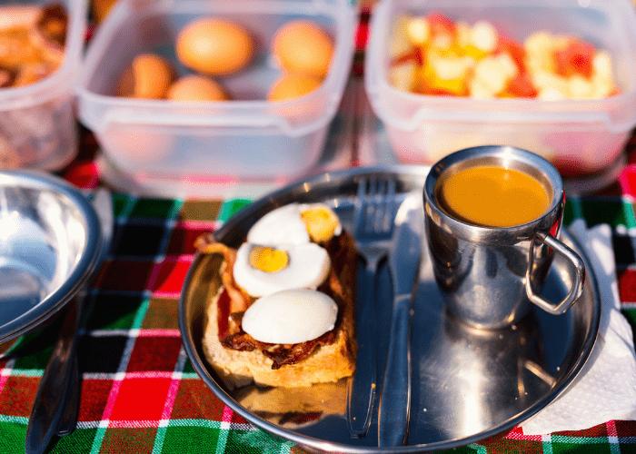 road trip food breakfast on a table
