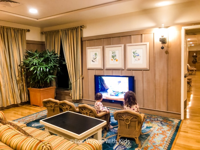lobby at Disney vero beach resort with kids watching cartoons