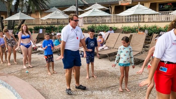 Cast Member dancing with kids at Disney Vero Beach hotel