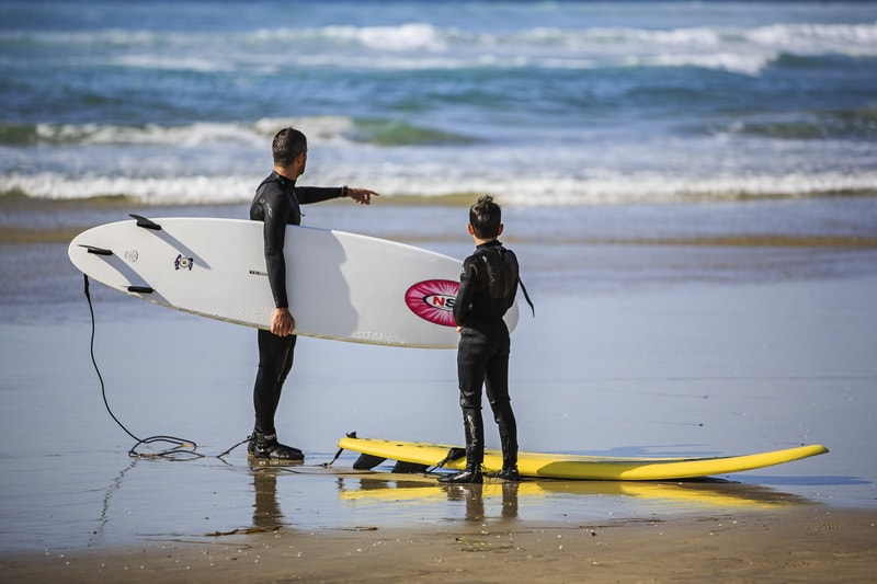 san diego surf lesson with kid