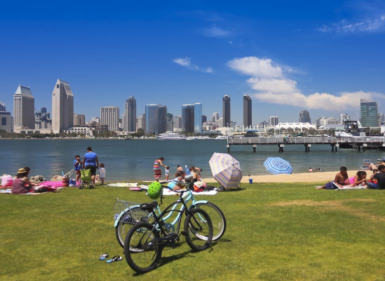 Beach overlooking San Diego Bay things to do in san diego with kids