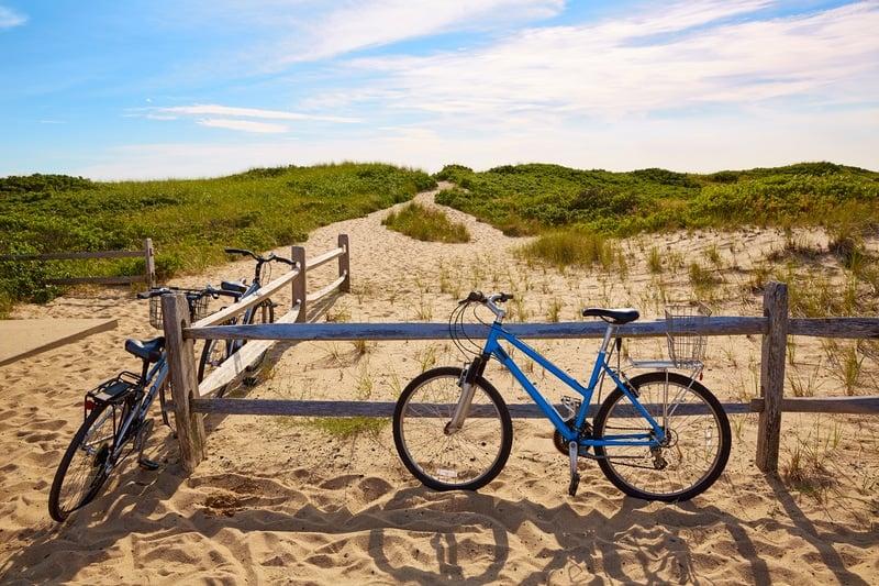 bikes at Herring cove beach near Provincetown on Cape Cod