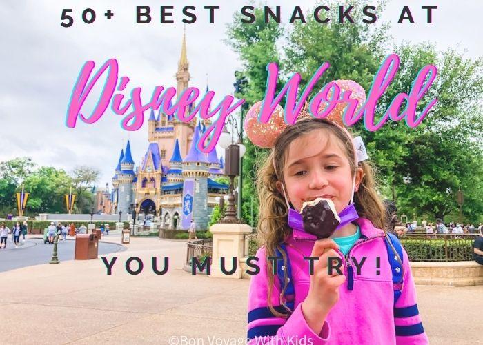girl eating icecream in front of magic kingdom at Disney World
